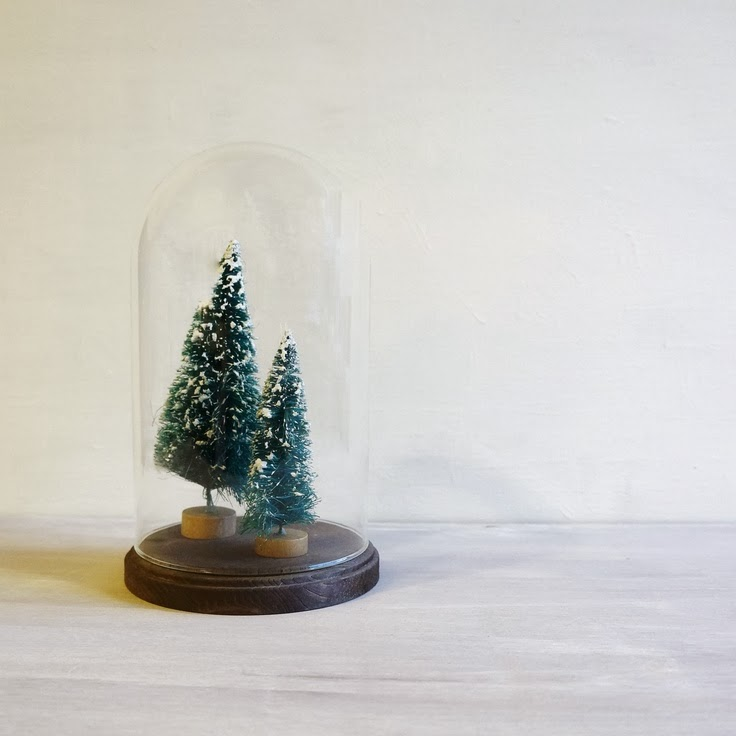bottle brush trees, christmas, vintage, cloche