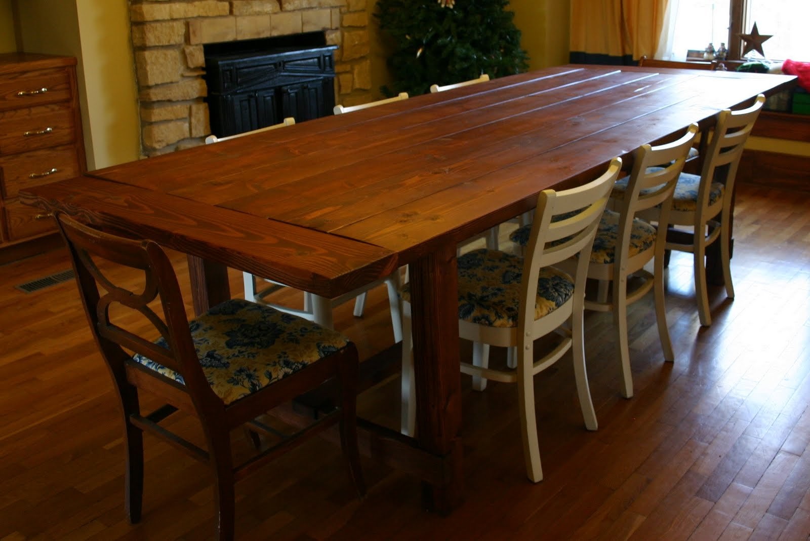 "for 72"" Rustic Farmhouse Dining Table based on Ana White's free plans"