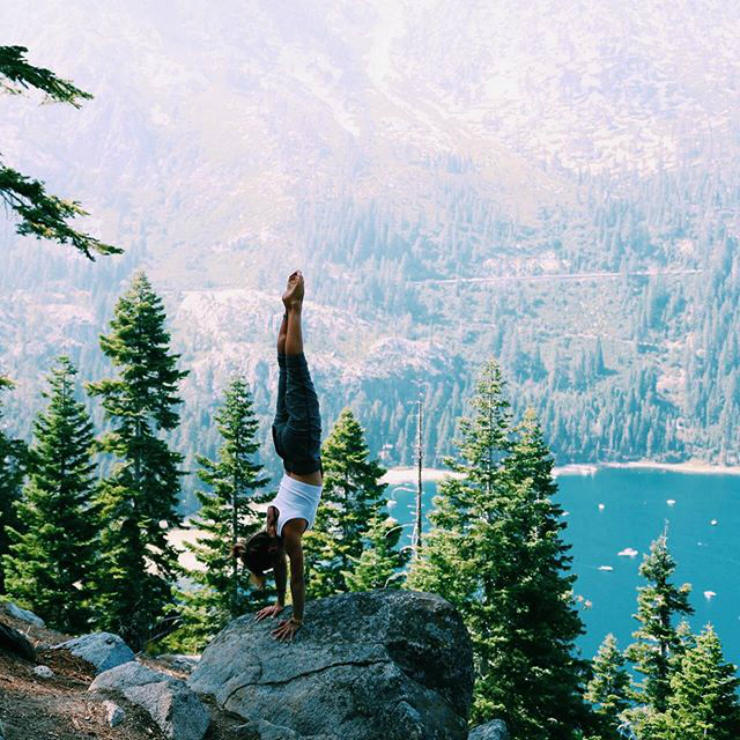 yoga handstand in nature