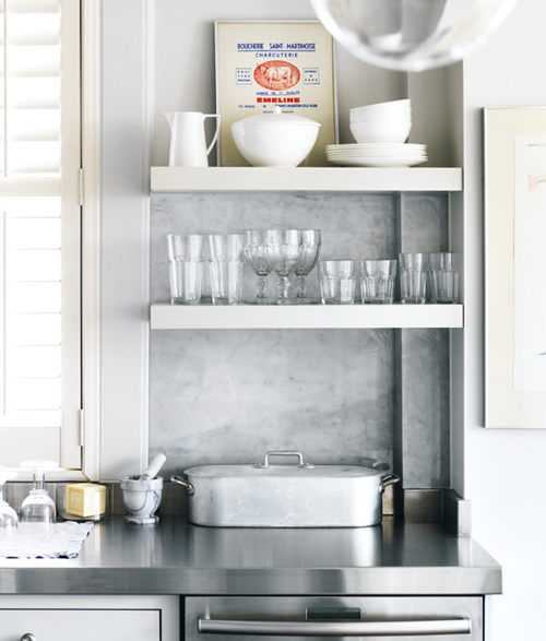 Heir And Space: White Shelves In The Kitchen