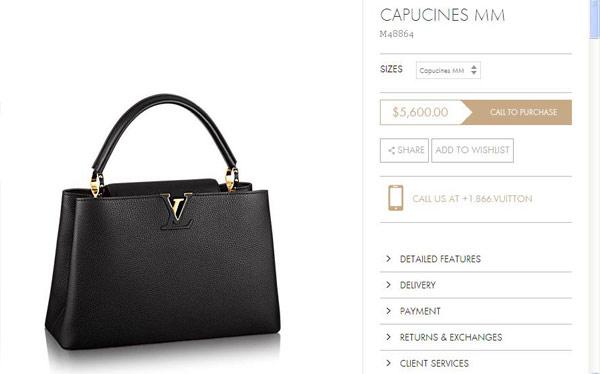 5.600 USD (khoảng 120 triệu đồng) là giá của chiếc túi xách Louis Vuitton dòng Capucines.