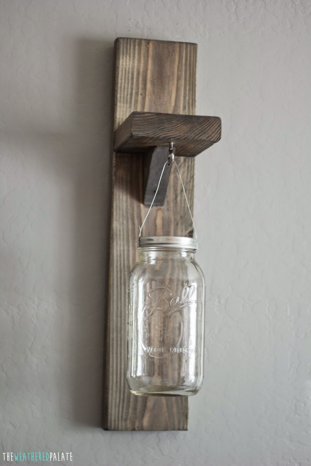 diy mason jar sconces the weathered palate. Black Bedroom Furniture Sets. Home Design Ideas
