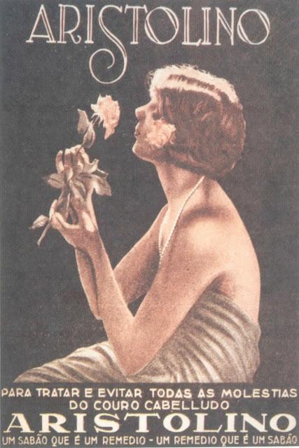 Propaganda do sabão Aristolino veiculada nos anos 20 e suas propriedades terapêuticas.