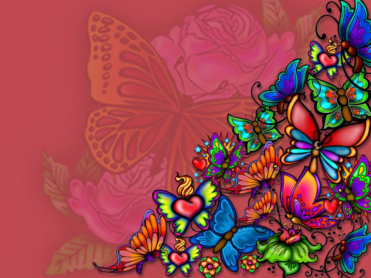 Colorful Butterflies Tattoo Images and Wallpaper