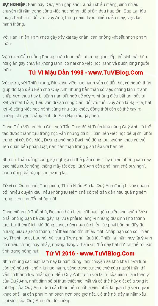 Tu vi tuoi Mau Dan Nam 1998 Nam 2016