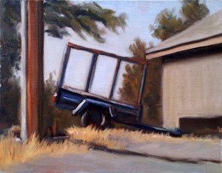 Oil painting of a blue trailer with stock crate beside a farm shed and a telephone pole.