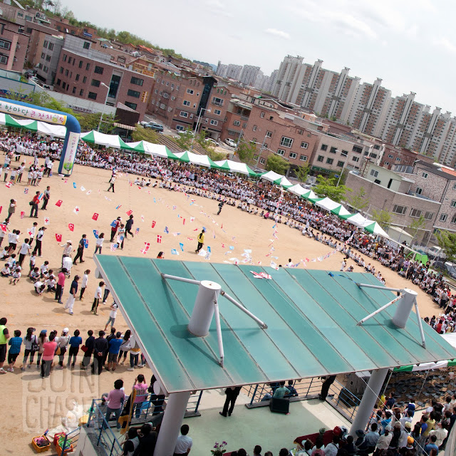 An aerial view of sports Day at Bibong Elementary in Ochang, South Korea.