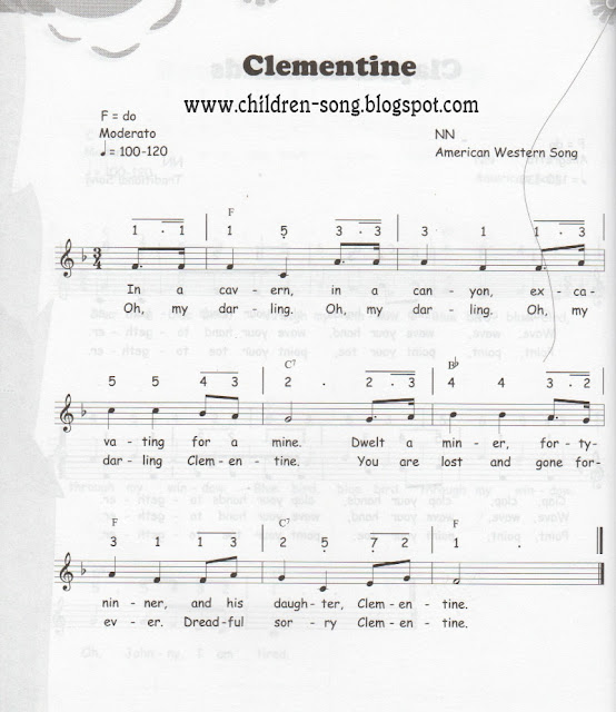 Oh My Darling Clementine Song with Notes and Chord