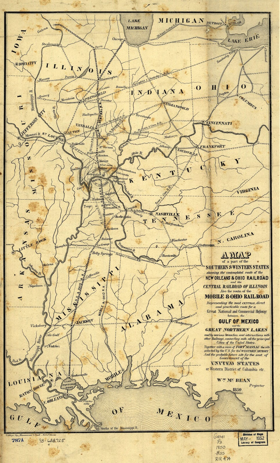the illinois central in 1850