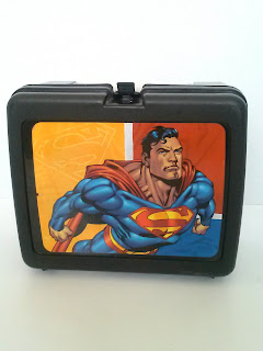 Vintage Thermos Superman plastic black lunch box