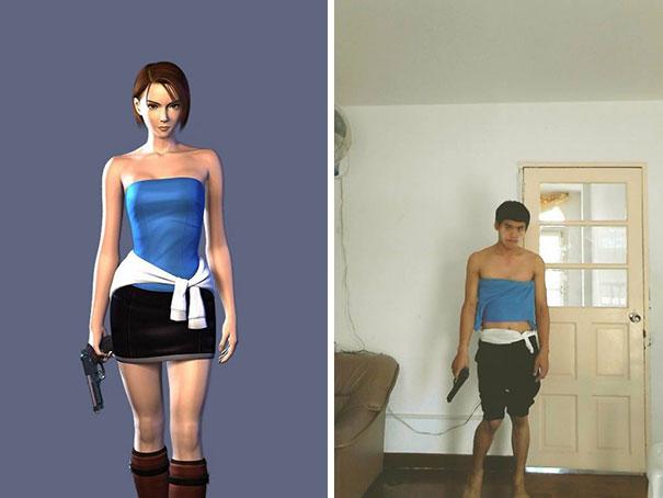 Individuos disfraces de bajo costo con objetos domésticos cosplay