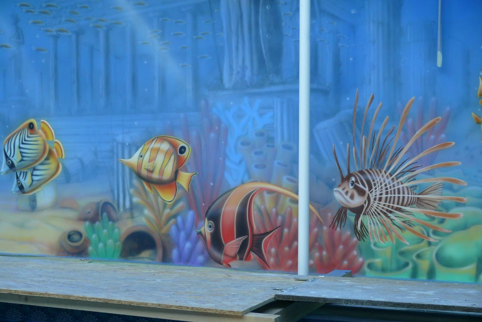 Malowanie rafy koralowej, wystrój basenu, artystyczny mural 3D, Warszawa