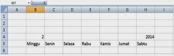 Data acuan membuat kalender di Excel