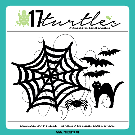 Spooky Spider, Bats & Cats Digital Cut Files by Juliana Michaels 17turtles