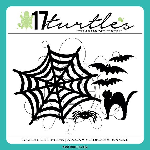 Spooky Spider, Bats & Cats Digital Cut Files by Juliana Michaels 17turtles