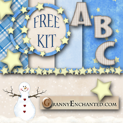 Free Blue Stars Digi Scrapbook Kit