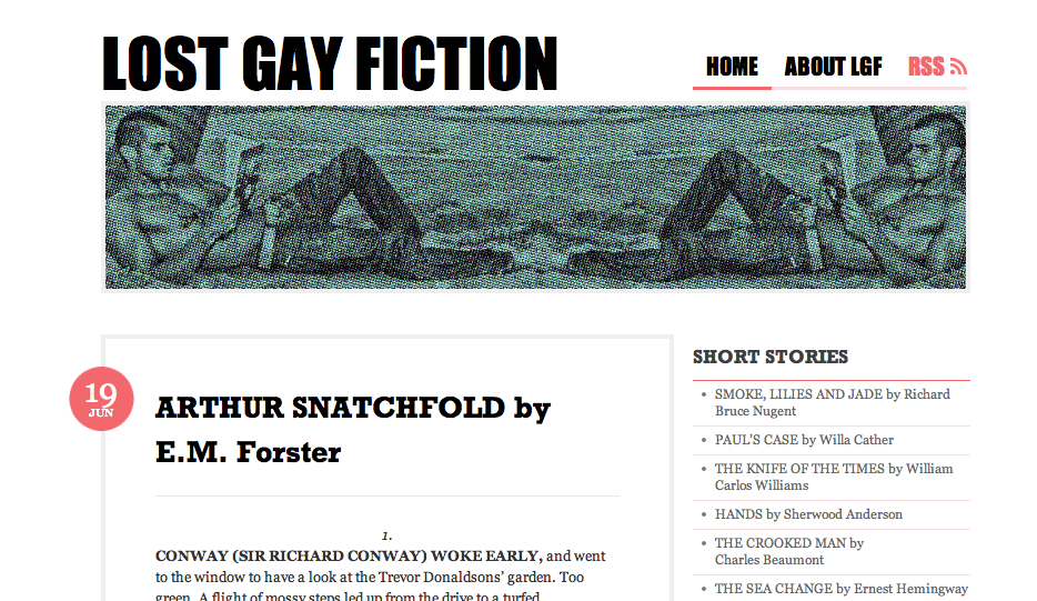 Lost Gay Fiction - Queer Short Stories Online by E.M. Forster, Willa Cather