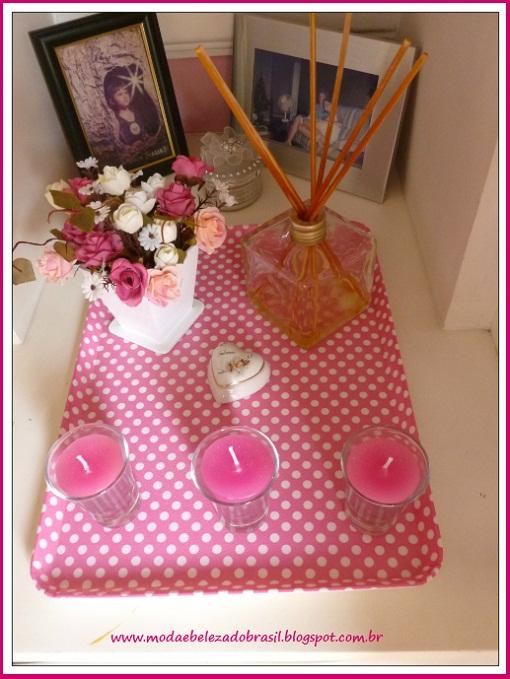 bandeja decorativa rosa de bolinhas