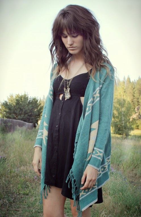 Bohemian Fringed Irregular Cardigan Green