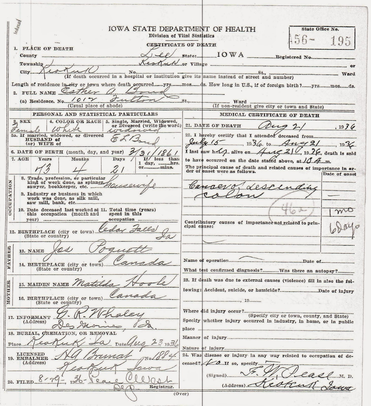 Matts genealogy blog web searches and iowa death certificates esther bonds death certificate sent unintentionally if you are related to esther bond please use this as you see fit xflitez Choice Image