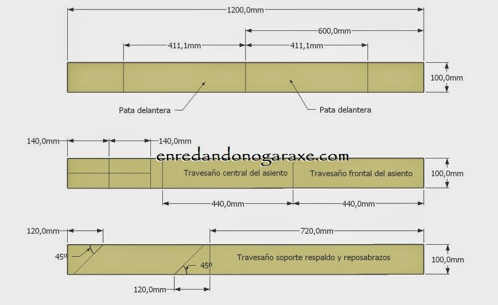 Planos diagrama de corte de las tablas estrechas. Enredandonogaraxe.com