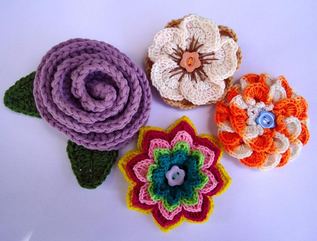 Crochet A Flower Brooch Pattern : Stitch of Love: Crochet Flower Brooches