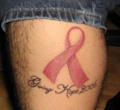Breast cancer pink ribbon tattoos