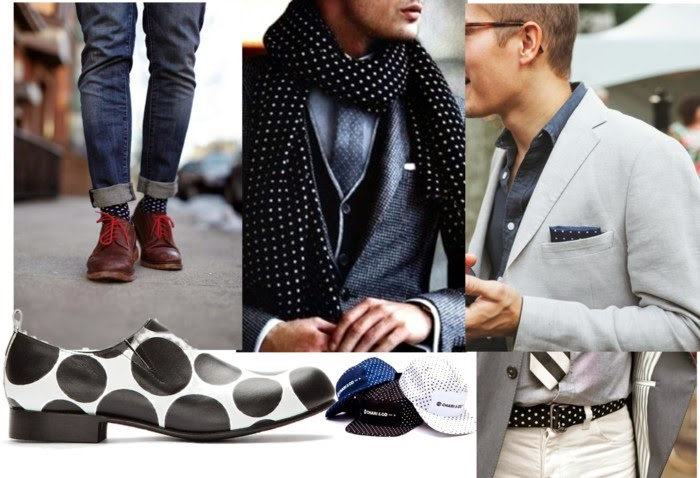 -moda masculina-estampa poá-sapato masculino com bolinhas-cinto masculino- cachecol de bolinhas