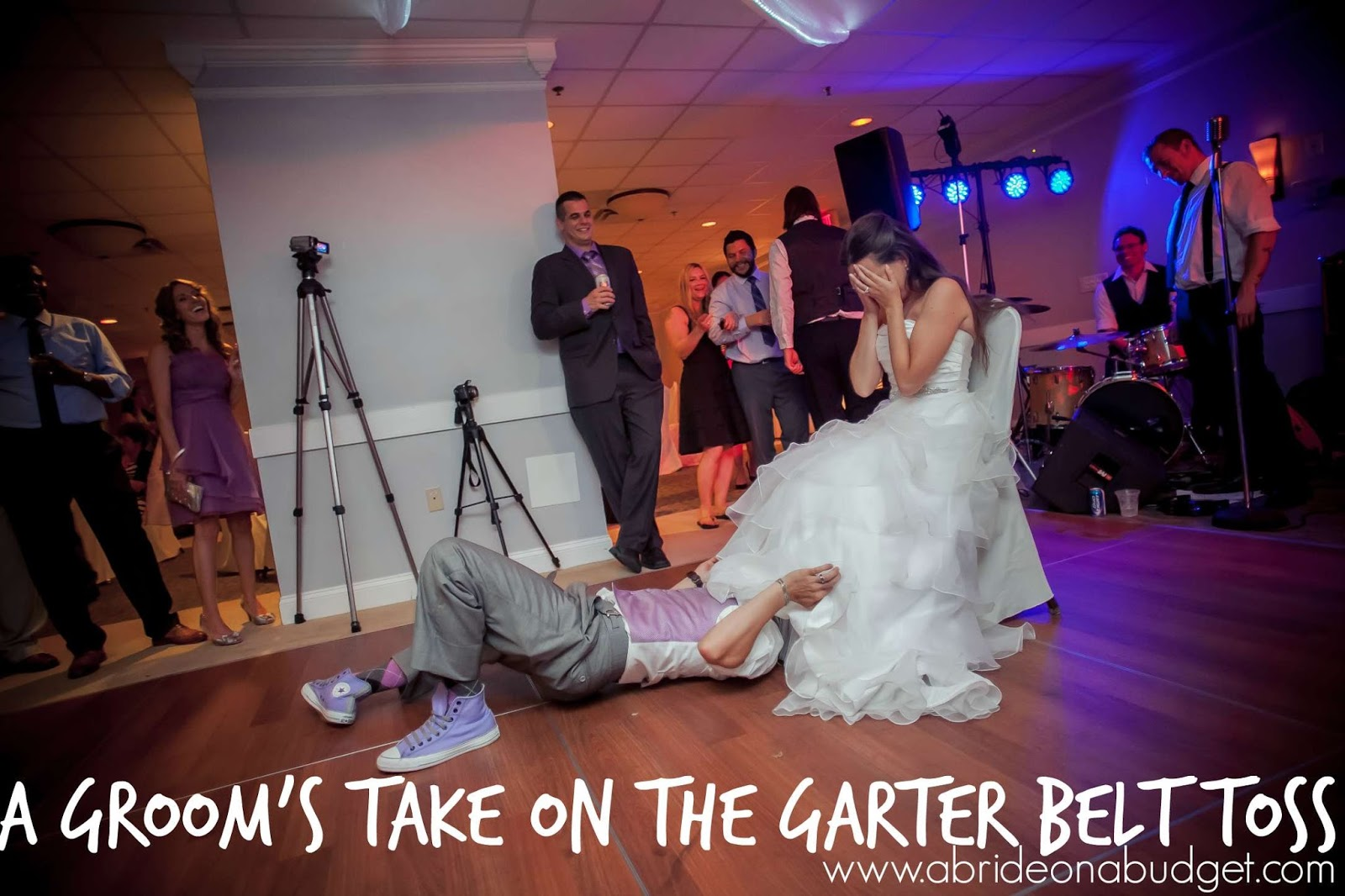 A groom 39 s take on the garter belt toss a bride on a budget for How to take wedding photos