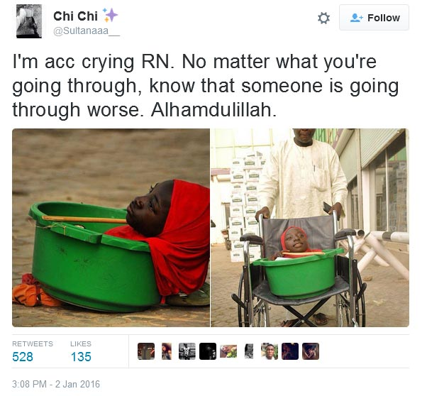 See What Somebody Said Parents Of Girl With No Limbs Should Have Done To Her At Childbirth (Screenshot)