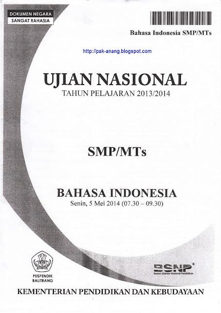 Naskah Soal Un Bahasa Indonesia Smp 2014 Paket 1