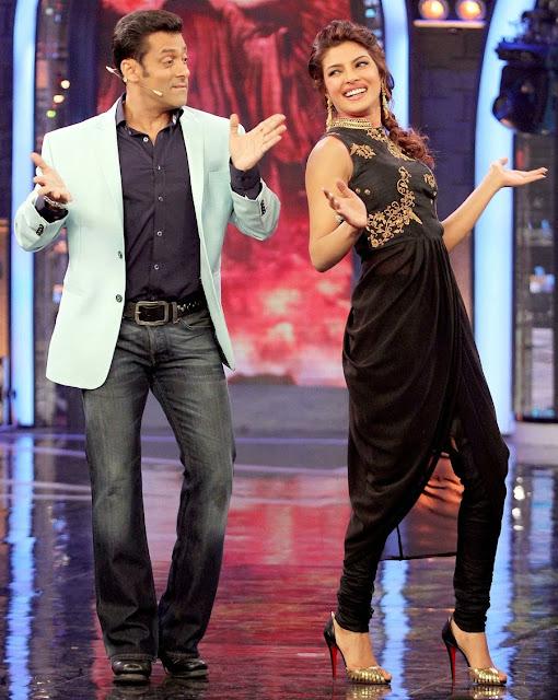 Priyanka Chopraand Salman Khan dancing at Bigg Boss set