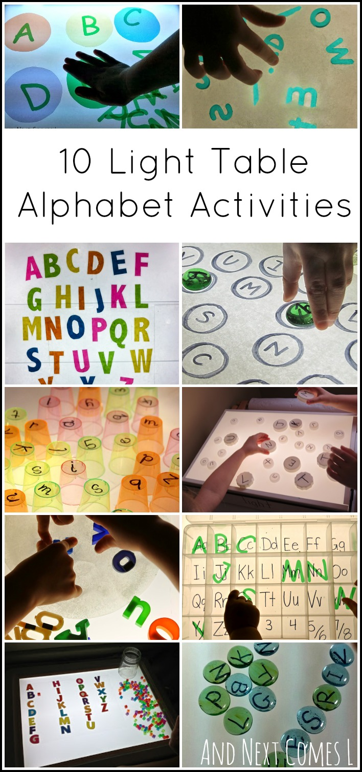 10 light table activities for kids to learn their ABCs from And Next Comes L