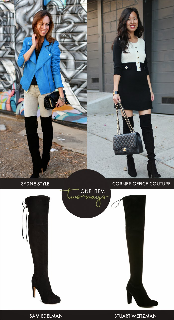 over the knee boots, otk boots, sydne style, corner office couture, stuart weitzman, sam edelman, dillards