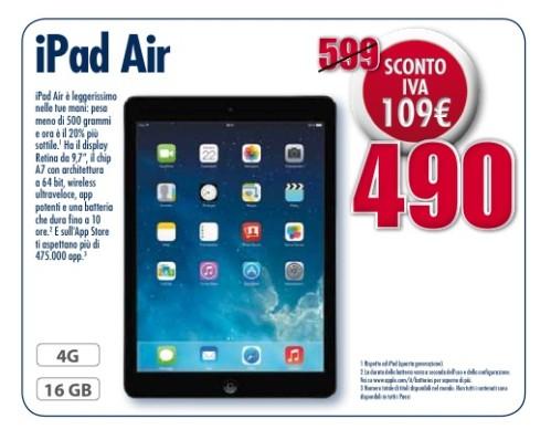 Sconto IVA su Apple iPad Air 4G nel volantino regionale Trony