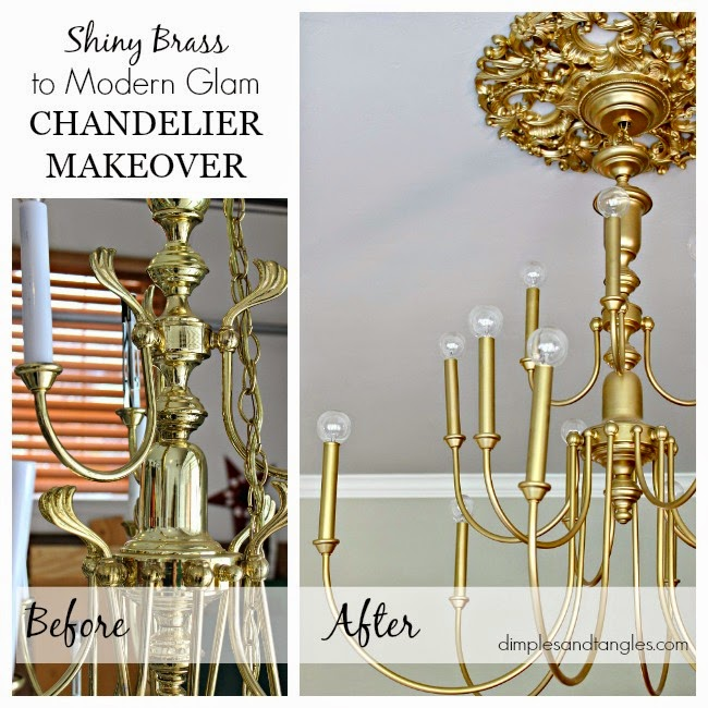 20 brass chandelier makeover dimples and tangles i think lamp and chandelier makeovers will always be my favorite check back tomorrow for a week 4 progress report on my bedroom aloadofball Choice Image