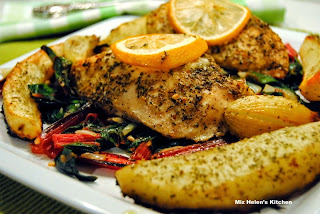 Citrus Herb Chicken with Swiss Chard from Miz Helen's Country Cottage
