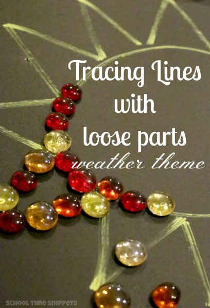 Such a fun and creative activity for your preschooler! Trace lines using loose parts-- adaptable to any theme!