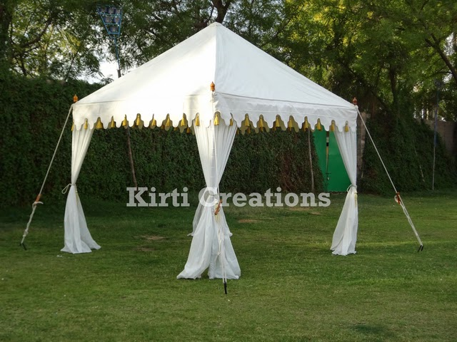 Aesthetic Wedding Tents -Aesthetic Wedding Tent is created with white red and orange color of canvas which are of round in shape and have conical roof. & Raj Tent-Tent Manufacturers: Wedding Tents And Its Various Types