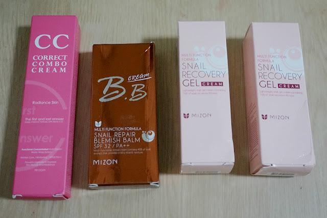 Mizon Haul: Snail Recovery Gel Cream, Snail Repair BB, and Correct Combo CC