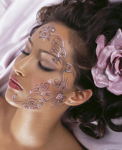 Girl sexy flower tattoo art