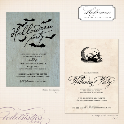 printable diy halloween party invitation vintage rustic spooky skull bats