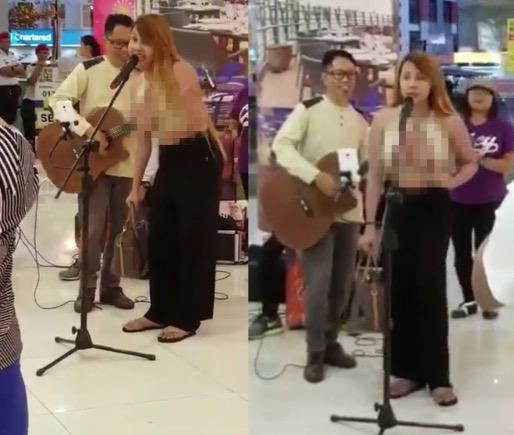 Pondan nyanyi sambil tayang payudara ketika busking di Kota Kinabalu