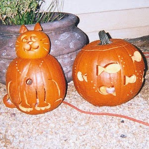 Cute Cat and Fish Pumpkins