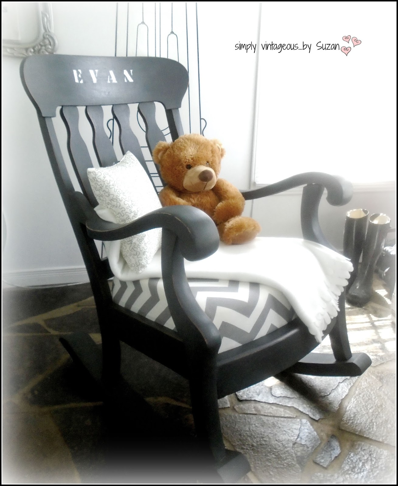 simply vintageous Suzan A ROCKING CHAIR MAKEOVER