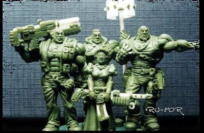 miniaturas hechas por ªRU-MOR. Representan a una familia de criminales en escala warhammer 40000, donde aparece la madre y los tres hijos