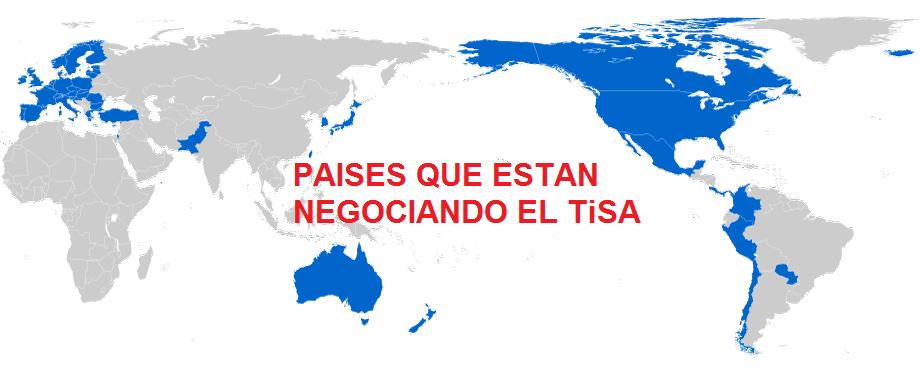 Países que están negociando del Tratado de Servicios TiSA
