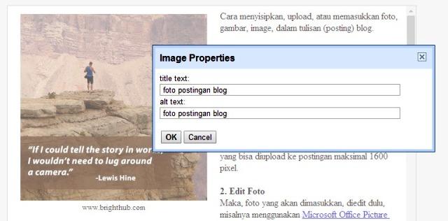 Cara Memasukkan Foto dalam Posting Blog