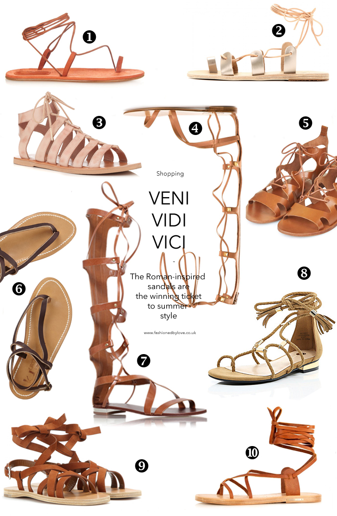 Spring/Summer 2015 trends / accessories / gladiator sandals for all budgets / online shopping / Isabel Marant, Valentino, Kurt Geiger, Miu Miu, K Jacques, Ancient Greek Sandals / via fashioned by love british fashion blog