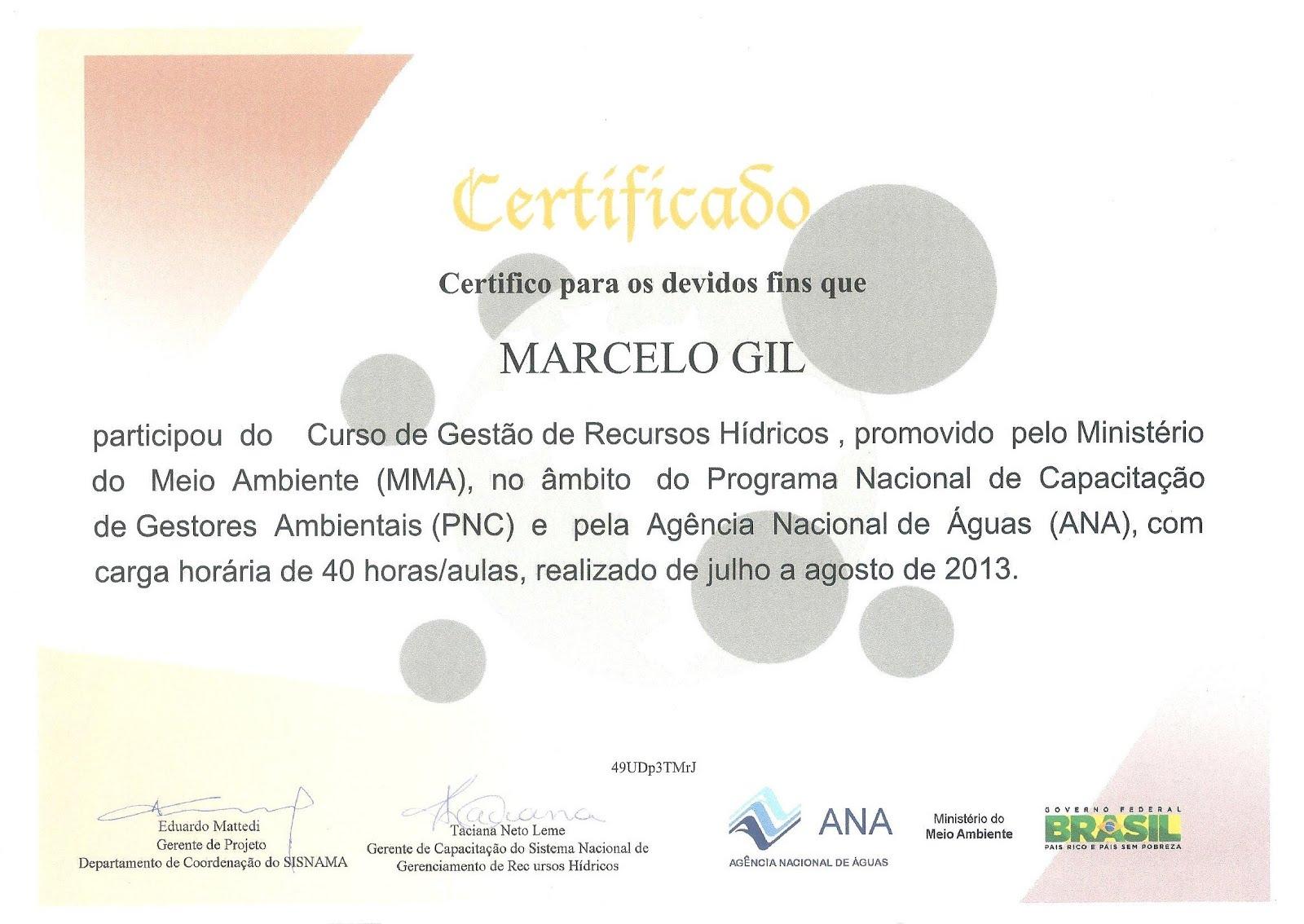 CERTIFICADO CONCEDIDO PELO MINISTÉRIO DO MEIO AMBIENTE À MARCELO GIL / 2013